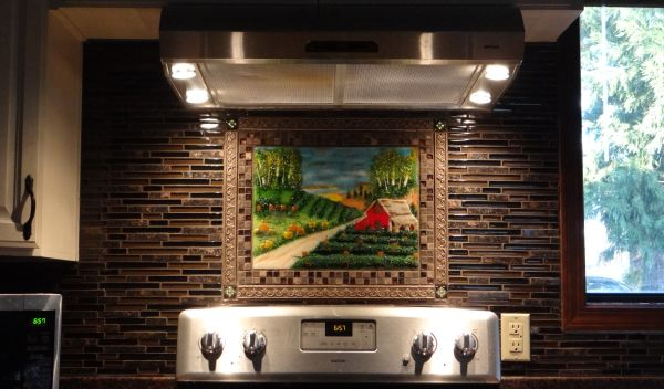 Fused Glass Range Backsplash