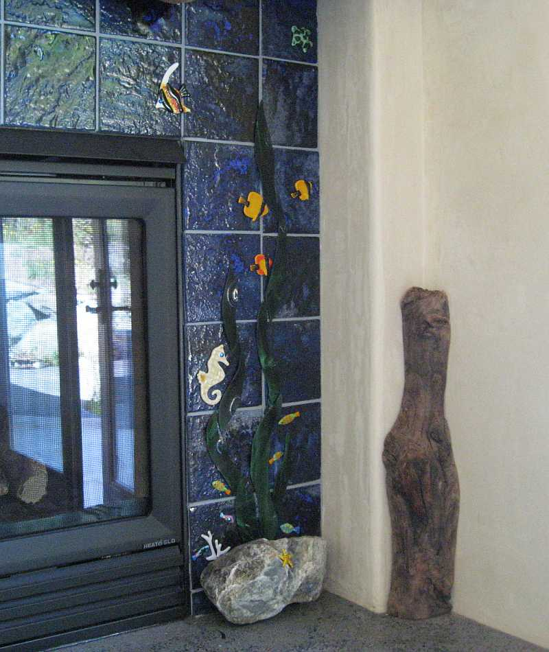 A view of the right side of the Glass Fireplace