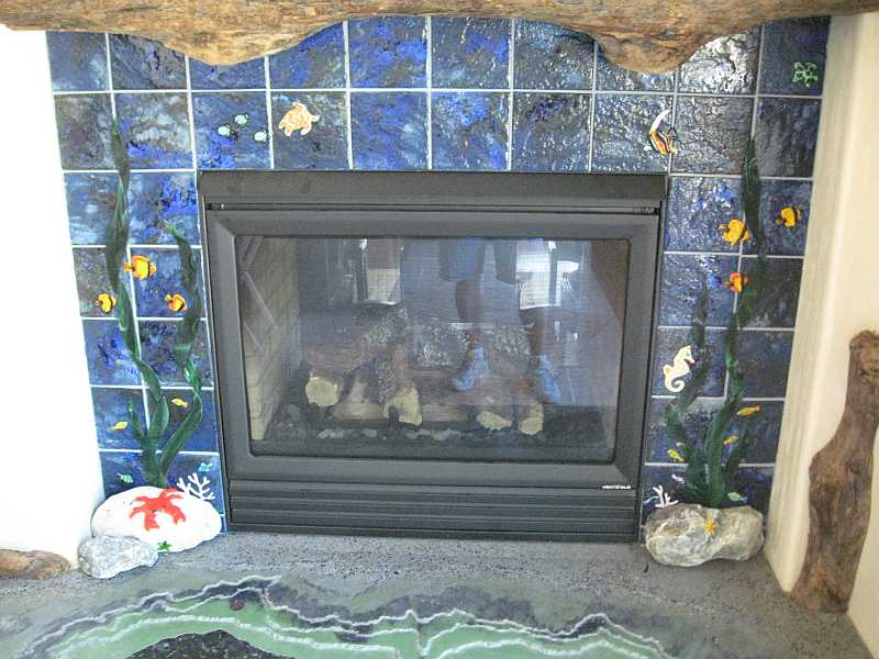 A view of the Glass Fireplace
